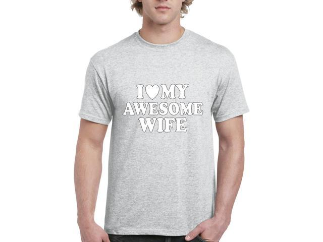 Artix I love My Awesome Wife Men's T-Shirt Tee Small Sport Grey