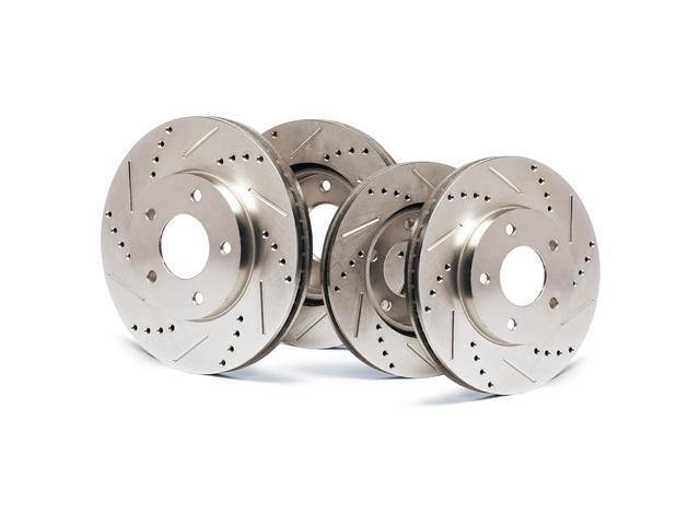 Front + Rear Premium Slotted & Drilled Rotors SY110833 | Fits: 2010 10 Chevy Express 2500 Excl. 6.6L Models