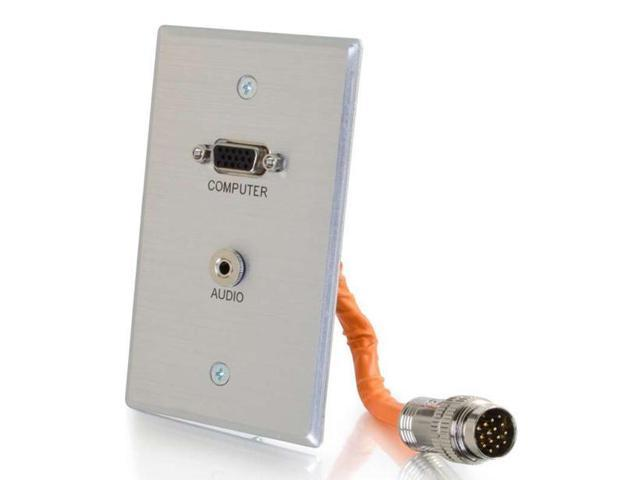 C2G 60107 Rapidrun Vga (Hd15) + 3.5Mm Single Gang Wall Plate - Wall Plate - Hd-15, Mini-Phone Stereo 3.5 Mm - Aluminum - 1-Gang