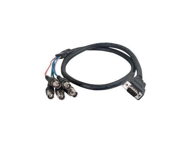 C2G 02568 Premium Vga Male To Rgbhv (5-Bnc) Female Video Cable - Vga Cable - Bnc (F) To Hd-15 (M) - 3 Ft - Molded, Thumbscrews - Black