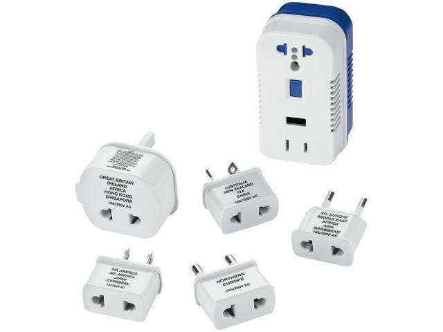 Conair Ts703cr Travel Smart 2 Outlet 1875w Converter Set With Usb Port And 5 Adapter Plugs