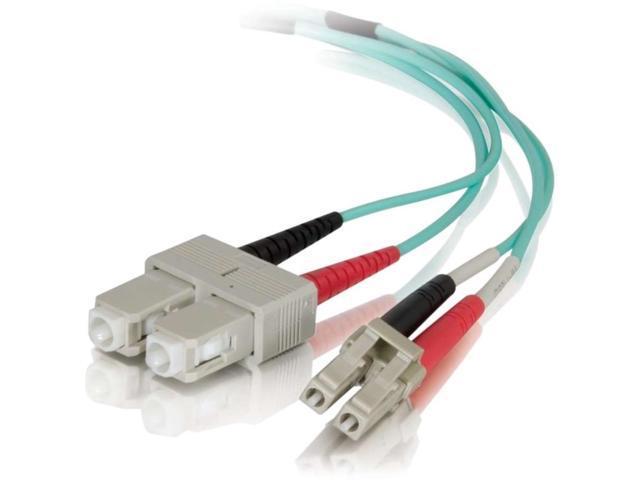 C2G 01149 10M Lc-Sc 50/125 Om4 Duplex Multimode Pvc Fiber Optic Cable - Aqua - Fiber Optic For Network Device - 32.81 Ft - 1 X Lc Male Network - 1 X Sc Male Network - Aqua