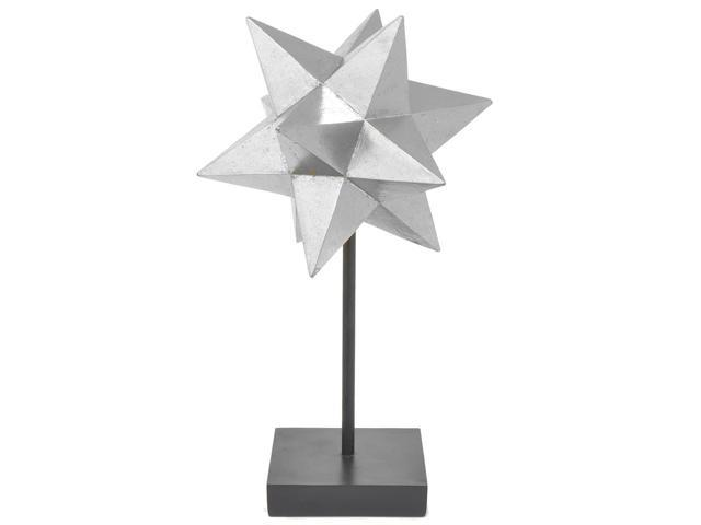 Three Hands Resin Star Tabletop Decor And Stand  -Silver Lg
