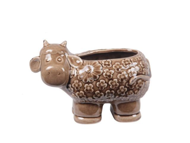 11 Inch Long Brown Ceramic Sheep Vase
