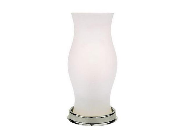 Battery Operated Led Hurricane Lamp With Frosted Glass Vase Nickel