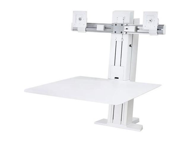 Ergotron 33-407-062 Workfit-Sr Dual Sit-Stand Workstation - Stand ( Desk Clamp Mount, Surface, Column, 2 Pivots, Crossbar, 2 Cord Wraps ) For 2 Lcd Displays / Keyboard / Mouse - Aluminum - White - Scr