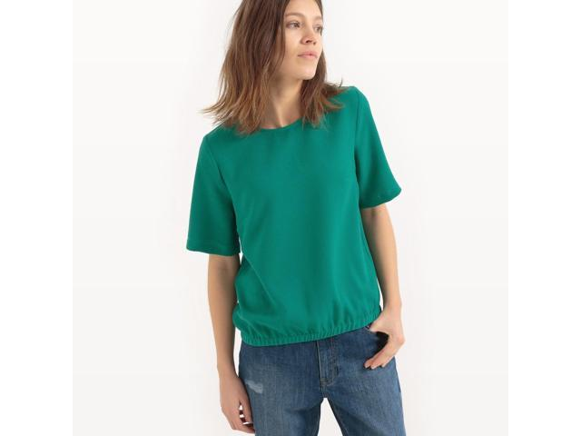 Womens Short-Sleeved Blouse With Elasticated Waist