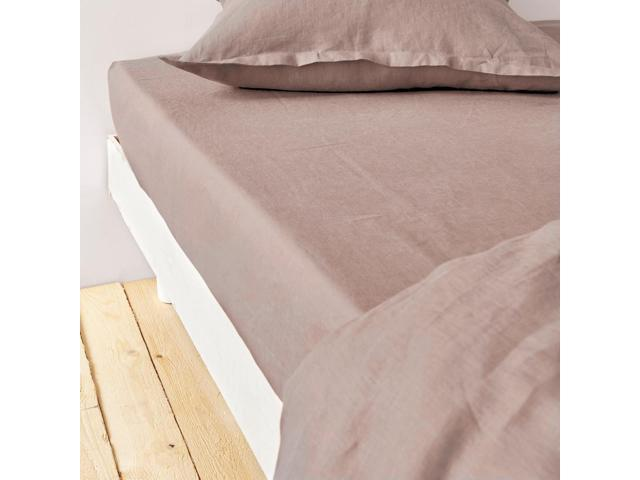 La Redoute Interieurs 100% Linen Fitted Sheet Brown Size Single (90 X 190Cm)