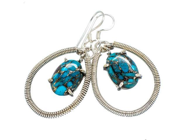 Ana Silver Co Blue Copper Composite Turquoise 925 Sterling Silver Earrings 1 3/4