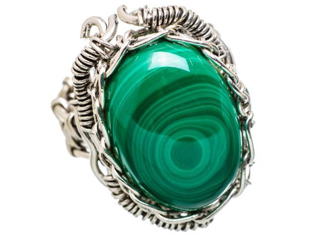 Ana Silver Co Large Malachite 925 Sterling Silver Ring Size 7.5 - Handmade Jewelry RING838730
