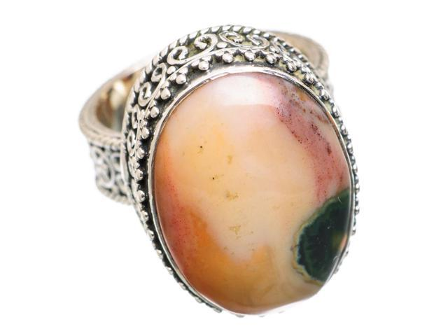 Ana Silver Co Large Rare Ocean Jasper 925 Sterling Silver Ring Size 7 - Handmade Jewelry RING838112