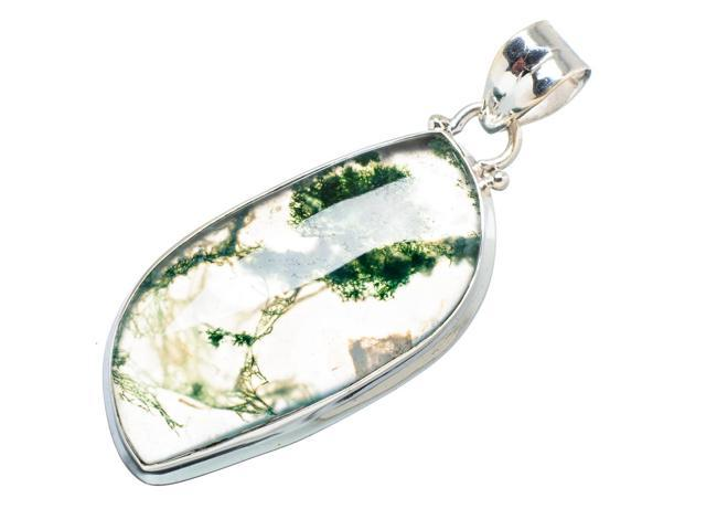 Ana Silver Co Green Moss Agate 925 Sterling Silver Pendant 2