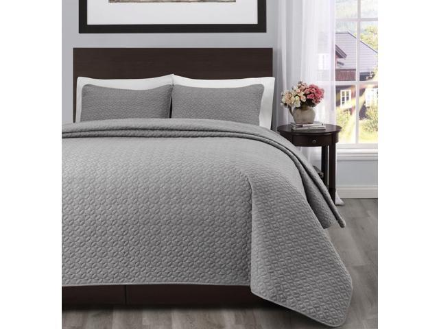 Allyson King/Cal King Size Bed 3pc Quilted Bedspread Light Grey Color Bed  Cover
