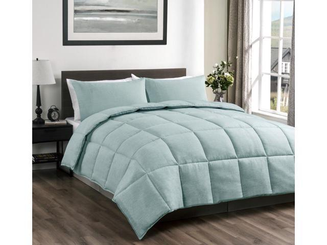 super 3 pieces king cal king down alternative comforter set aqua green color reversible bed. Black Bedroom Furniture Sets. Home Design Ideas
