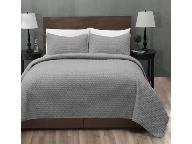 Madison King/Cal-King Size Bed 3pc Quilted Bedspread Light Grey ...