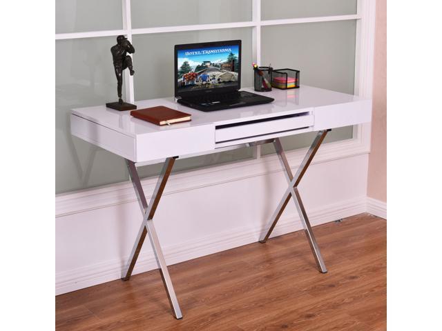 computer desk pc laptop table workstation metal frame wood t