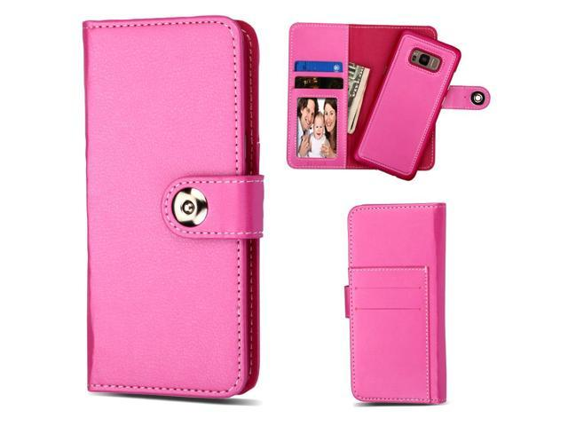 2-IN-1 Premium Leather Wallet with Removable Magnetic Case for Samsung Galaxy S8 Plus - Hot Pink