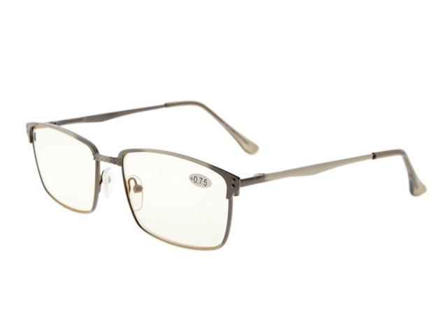 Eyekepper Readers Quality Spring Hings Brushed Metal Computer Reading Glasses Rx-able Anti Gunmetal (Yellow Lens, +4.00)