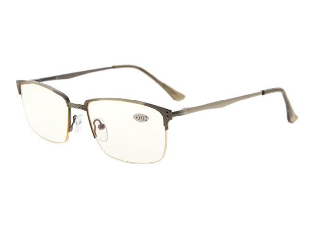 Eyekepper Quality Spring Hinges Brushed Metal Frame Half-rim Computer Reading Glasses Rx-able Anti Gunmetal (Yellow Lens, +1.75)