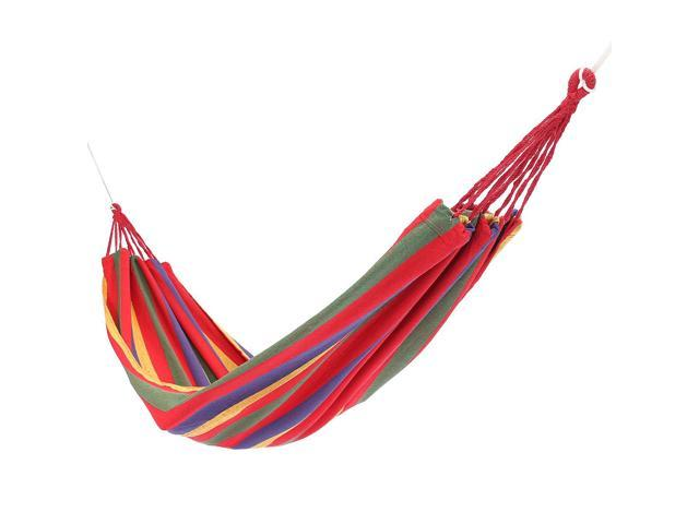 Portable Swing Hammock Outdoor Camping Travel Patio Yard Hanging Tree Bed Canvas Max. 120kg-Red