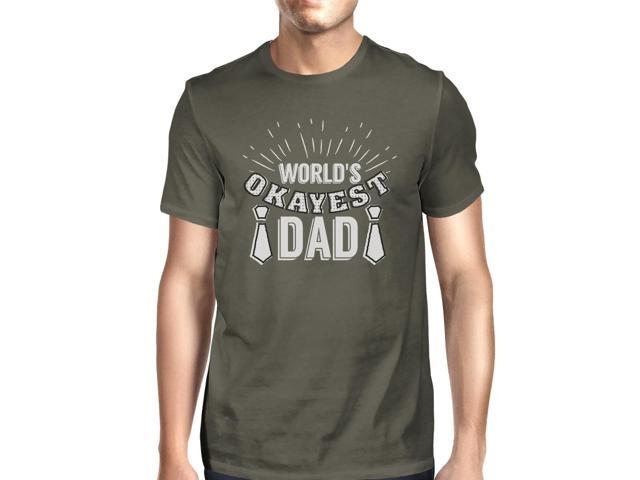 Worlds Okayest Dad Mens Dark Gray Graphic Tee Funny Gifts For Dad