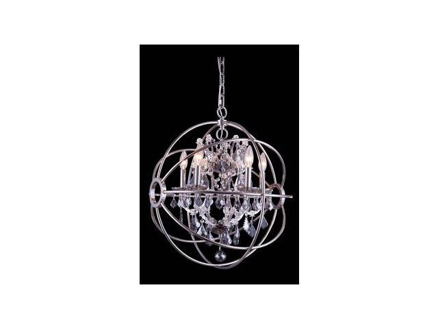 Elegant Lighting 1130 Geneva Collection Pendent lamp D-20in H-23in Lt-5 Polished nickel Finish-Royal Cut Silver Shade Crystals-1130D20PN-SS-RC