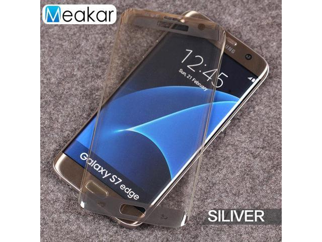 Full Coverage 5.5for Samsung Galaxy S7 Edge Case Tempered Glass Film Screen Protector (silver)