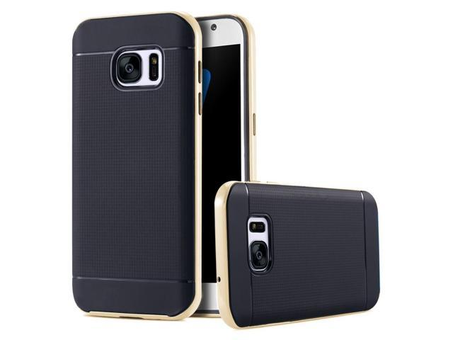 Fashion Hard Slim PC Frame + Soft TPU Armor Case For Samsung Galaxy S7 edge(gold)