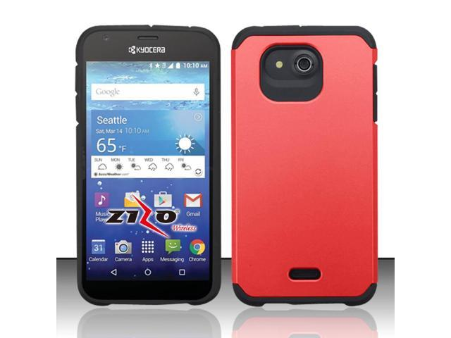 For Kyocera Hydro Wave C6740 - SLIM HYBRID Cover w/ UV Coating - Black/Red SMHYB