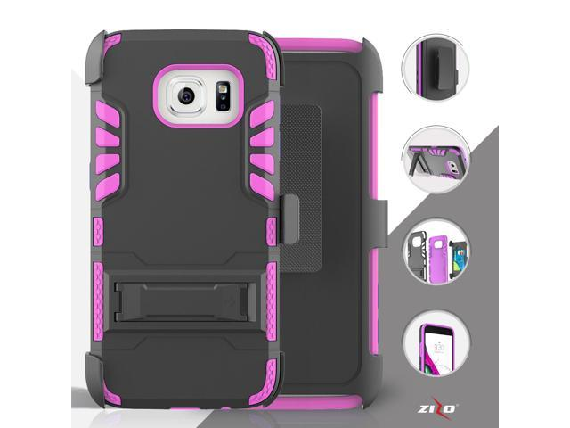 For Samsung Galaxy S7 - Heavy Duty ION Armor Style Case w/ Kick Stand w/ Holster - Hot Pink/Black IONAM