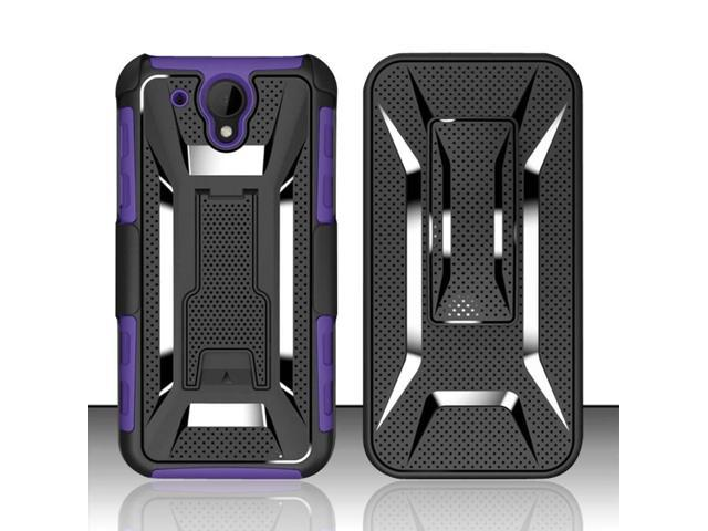 For HTC Desire 520 - Heavy Duty Vent Armor Style Case Cover w/ Kickstand & Holster - Purple/Black VTAMH