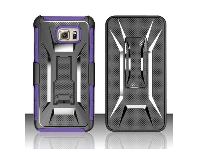 For Samsung Galaxy Note 5 - Heavy Duty Vent Armor Style Case w/ Kick Stand w/ Holster - Purple/Black VTAMH