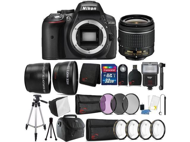 Nikon D5300 24.2MP DSLR Camera 18-55mm Lens + Zoom Flash Tripods Filters Bundle