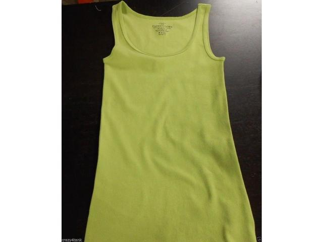 Faded Glory Women's Basic Rib Tank, Small 4-6, Bright Green