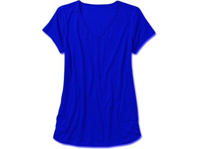 Faded Glory Women's Short Sleeve Knit Top with Side Ruching, Small, Blue Blaze