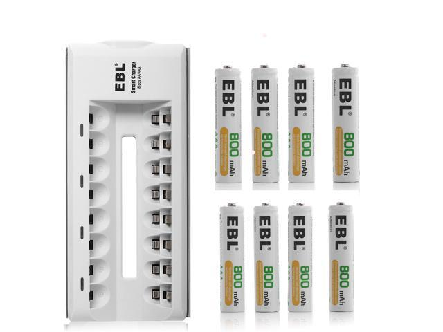 EBL AAA Rechargeable Batteries 800mAh Ni-MH (8pcs) with Rapid AA AAA Battery Charger