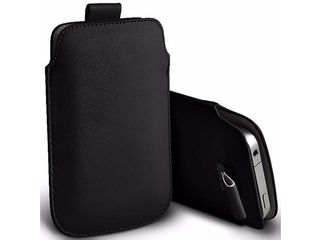 iTronixs - Zenfone Selfie (5.5 inch) Protective Faux Leather Pull Tab Stylish Fitted Pouches Case Cover Skin - Black
