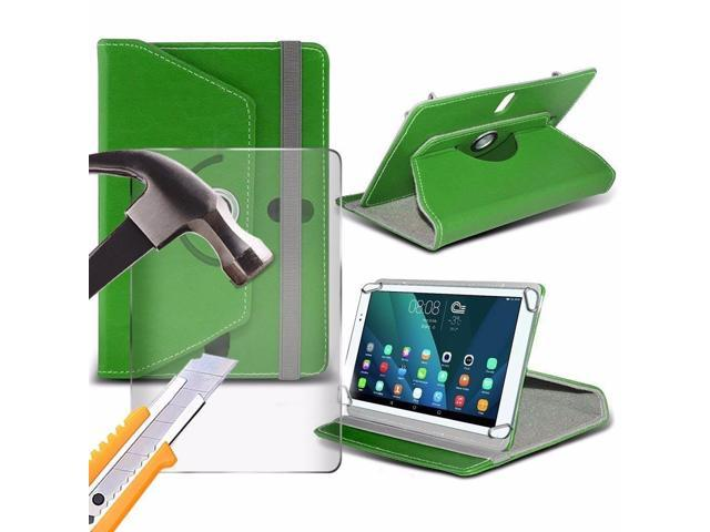 iTronixs - Tecno P9 ( 7 Inch ) Tablet Case PREMIUM PU 360 Rotating Leather Wallet Folio Faux 4 Springs Stand with Tempered Glass LCD Screen Protector Guard - Green