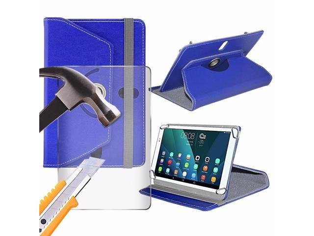 iTronixs - Toshiba Thrive AT1S5-T32 (7 inch) Tablet Case PREMIUM PU 360 Rotating Leather Wallet Folio Faux 4 Springs Stand with Tempered Glass LCD Screen Protector Guard - Blue