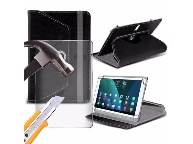 iTronixs - Ematic eGlide Pro 2 (10 inch) Tablet Case PREMIUM PU 360 Rotating Leather Wallet Folio Faux 4 Springs Stand with Tempered Glass LCD Screen Protector Guard - Black