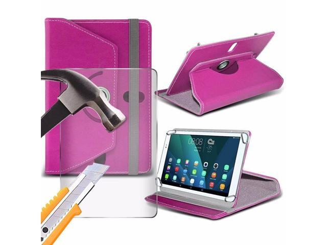 iTronixs - Iview 788TPC (7 inch) Tablet Case PREMIUM PU 360 Rotating Leather Wallet Folio Faux 4 Springs Stand with Tempered Glass LCD Screen Protector Guard - Pink