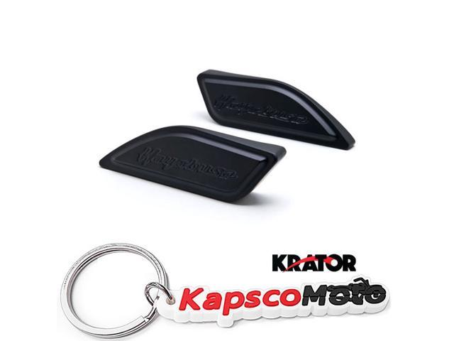 Krator Black Gas Tank Pad Side Cover Cap for Suzuki Hayabusa Busa GSX1300R 1999-2014 Black Gas Tank Pad Side Cover Cap Hayabusa Logo + KapscoMoto Keychain