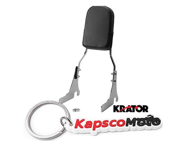 Krator 1996-2005 Kawasaki VN800 Vulcan Classic High Quality Chrome Backrest / Sissy Bar with Leather Pad Back Rest Seat Metric Cruisers Motorcycle + KapscoMoto Keychain