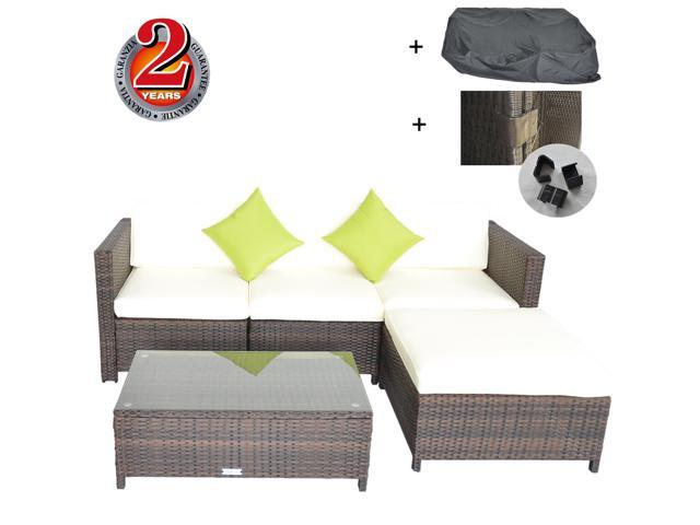 Outime Re Configurable Outdoor Rattan Sofa Set Garden Lawn Rattan Sofa  Cushioned Seat Iron Pipe