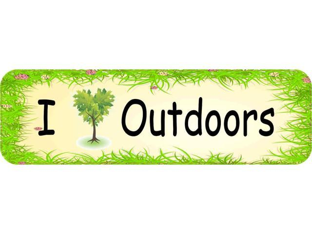 10in x 3in i love outdoors bumper sticker vinyl vehicle decal stickers