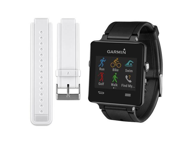 Garmin Vivoactive Smartwatch Bundle - Black w/ Replacement White Strap