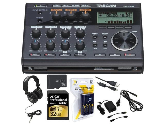 Tascam Portastudio 6 Track Digital Recorder w/Built In Microphone +Studio Bundle