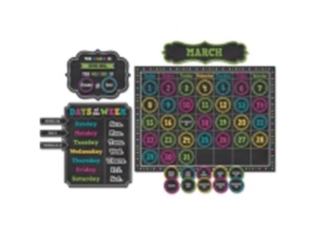Teacher Created Resources TCR5615 Chalkboard Brights Calendar Bulletin Board Set