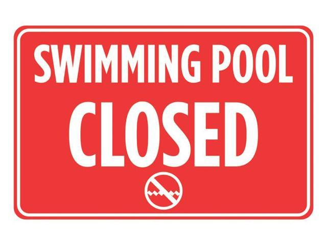 Swimming Pool Closed Red White Print Swim Rules Poster Outdoor Horizontal Notice Sign Large 12 X