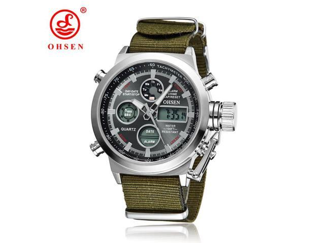 OHSEN Brand Men Sports Watches LED Digital Quartz Fashion Watch Outdoor Fabric Wristwatches Relogio Masculino AS17